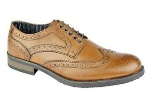 MENS ROAMERS TAN LEATHER BROGUE LACE UP SHOES SIZE 7,8,9,10,11,12 UK