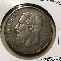 1870 Belgium 5 Francs Leopold II Silver Coin VF/XF Condition
