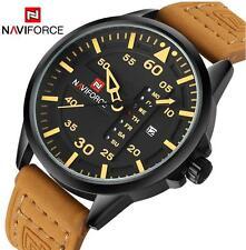 naviforce Herren Uhr Quarzuhr Armbanduhr Analog Lederband Sport Datumzeige Watch