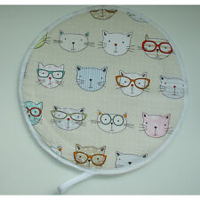 NEW Aga Range Hob Hat Lid Mat Cover Topper Cook Cute Cats in Glasses Chef Pad