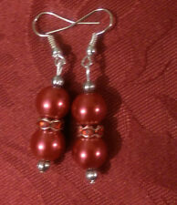 Drop dangle silver plated earrings , pearl effect red, tibetan,stoned spacer(168