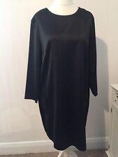 H&M Satin Black Shift Dress Size Large