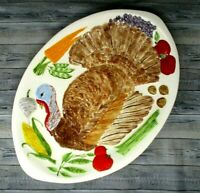 Large Turkey Platter Vintage 1979 Hand Painted Signed Thanksgiving 20x14