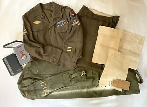 WWII WW2 Named Grouping Uniform Ike Jacket, Pants, Bronze Star 9th 65th Infantry
