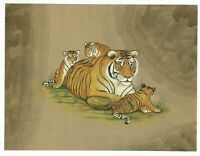 Hand Painted India Miniature Painting Of Wildlife Tiger Nature Artwork On Paper