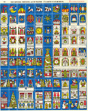 1970 Christmas Seals - full sheet contains a variety of Christmas-related images