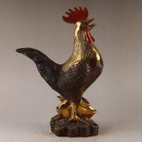 Collectible China brass hand work zodiac chicken ingot statue Decoration