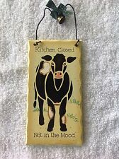 """"""" Kitchen Is Closed"""" Sign  Cow & Bell Theme By """"Tender Heart Treasures"""" 1995"""