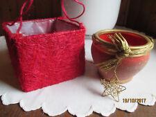 2er Set Übertopf H 8+9 rot gold Sisal Korb Keramik Glitzer Stern Blumentopf Topf