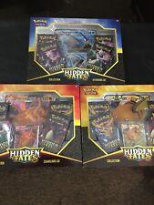Pokemon Hidden Fates GX collection box- Gyarados, Charizard, Raichu LOT