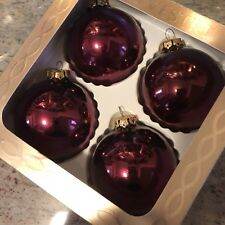 "1 Set of 4 - Vintage Silvestri 3"" Burgundy Glass Ornaments with Gold Crowns"