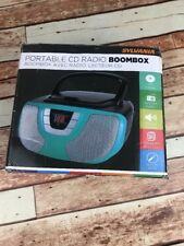 Sylvania Portable CD Player Boom Box with AM/FM Radio Teal Blue iPhone Ipod Jack