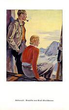 Hüttenrast in Berghütte Druck 1936 Ernst Kretschmann * Mainz Bergwandern Berge +