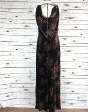New Lauren Ralph Lauren 10 Dress Long Floral Brown Velvet Sleeveless Maxi Drape