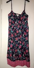 MONSOON NAVY & PINK STRAPPY COTTON SUNDRESS FLORAL FLARED SKIRT. EMPIRE LINE M