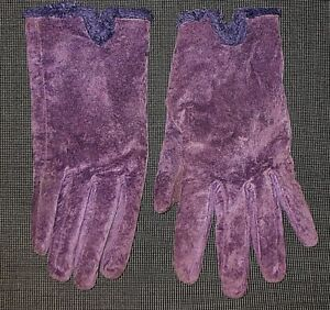 ARIS ISOTONER PURPLE SUEDE LEATHER DRIVING GLOVES WOMENS SIZE LARGE