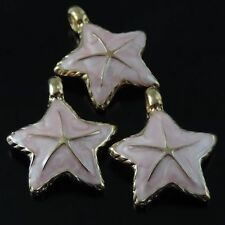 39563 Vintage Enamel Rose Gold Alloy Lovely Pink Starfish Pendant Charms 16pcs