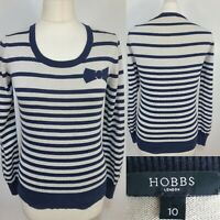 HOBBS Navy Blue Cream Striped Thin Knit Fitted Jumper Silk Cashmere Bow Size 10
