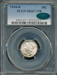 1944-D Mercury Dime PCGS MS 67+ FB / CAC *Full Bands!* *Rainbow Toning!*