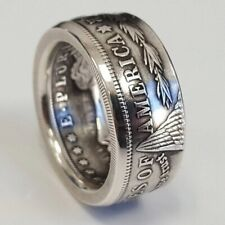 Handmade Morgan Silver Dollar Coin Ring 'eagle' Silver Plated In Sizes 6-13 rare