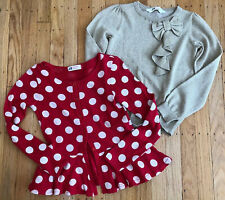 H&M Young Girl Holiday Thin Sweaters Red& White Polka Dot & Gold/ruffle Sz 6-8