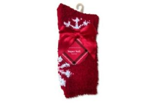 2 Pair Charter Club Women's Chenille Super Soft Cozy Socks Candy Red/Snow 9-11