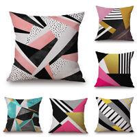 "18"" Home Cotton Linen Car Sofa Waist Cushion Pillow Case Cover Geometric Shapes"