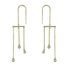 Sparkly drop earrings, Gold overlay on solid Sterling Silver, triple bar, new.