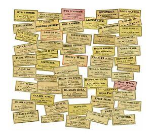 Apothecary Druggist Labels, 2 CUT & PEEL Sticker Sheets, Bathroom Decorations