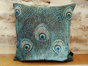 Liberty William Morris Hera Linen & Velvet Fabric Cushion Cover Teal Gold Small
