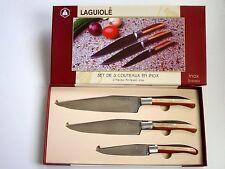 Laguiole Hochwertiges 3tlg Messer-Set mit Holzgriff Inox Chef- Küchenmesser NEU!