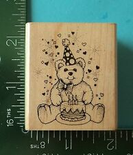 Hero Arts  BIRTHDAY PARTY BEAR Rubber Stamp  Teddy Streamers Confetti Cake