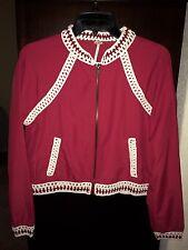 Beautiful Free People Crochet Inset Jacket. Ruby Red w/Ivory Trim. Size XS $148