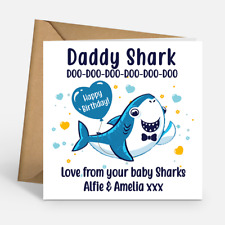 Daddy Shark Happy Birthday Personalised Birthday Card Envelope Included