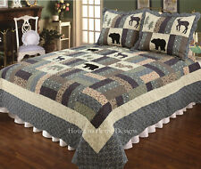 2PC Twin Mountain Highlands Lodge Black Bear & Deer Quilt Set/Bedding Package.