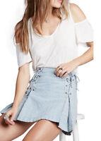 NWT $88 FREE PEOPLE Mini Skirt SWEET BLUE NEW White Striped Size  8 12 *SALE