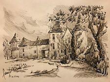 Ferme de Vitry Guignes Rabutin grand dessin à l'encre vers 1960
