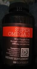 Amazon Elements Super Omega-3 1280 MG Natural Lemon Flavor - 120 Softgels 06/21