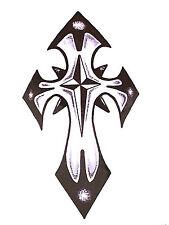 BLACK GOTHIC TRIBAL CROSS TEMPORARY TATTOO    TY0262
