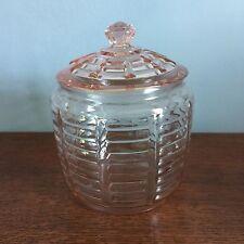 """Vintage Depression Glass Pink Ribbed Cookie Jar/Biscuit Bowl - 7-1/2"""" - VGUC"""
