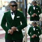 Men's Slim Fit Double Breasted Green Velvet Blazer Wedding Groom Tuxedo Suit