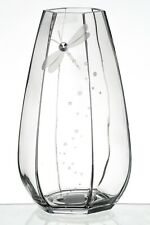 Large Handmade Glass Vase with Crystal from Swarovski® & Dragonfly Decor - 30 cm