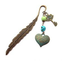 BRONZE FEATHER BOOKMARK w/ skull bead heart & key steampunk blue charms gift 2W