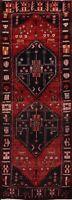 Vintage Geometric Meshkin Tribal Runner Rug Hand-knotted Oriental Hallway 3'x9'