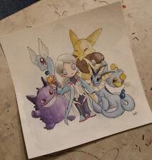 Pokemon Go watercolor painting Mystic Blanche Gengar Vaporeon Lanturn Dratini