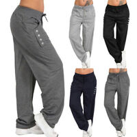 Plus Size Womens Loose Casual Baggy Sports Pants Ladies Yoga Gym Trousers Black