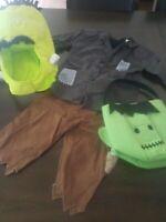 Pottery Barn Kids Frankenstein Halloween Monster 3 head piece costume light bag