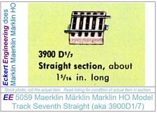 EE 5059 EXC Marklin HO Straight Model Track 3900D1/7 in EXC Condition, 5 Ties