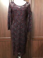 TU NWT Lace Pencil Dress Size 12 Xmas Party Evening Occasion Cruise Black Red
