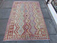 Kilim Old Traditional Hand Made Afghan Oriental Pink Purple Wool Kilim 186x130cm
